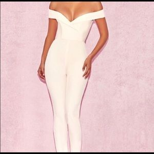 House of CB cream off the shoulder jumpsuit!